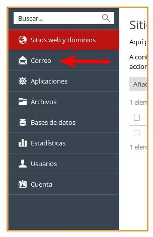 Configuracion de correos electrónicos Plesk