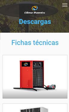 Diseño web para Clima Events empresa de alquiler de maquinaria para la climatización